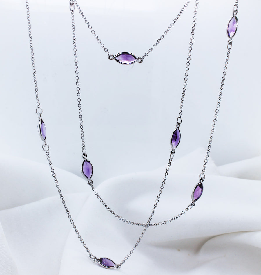 9K White Gold Amethyst Trace Chain Necklace