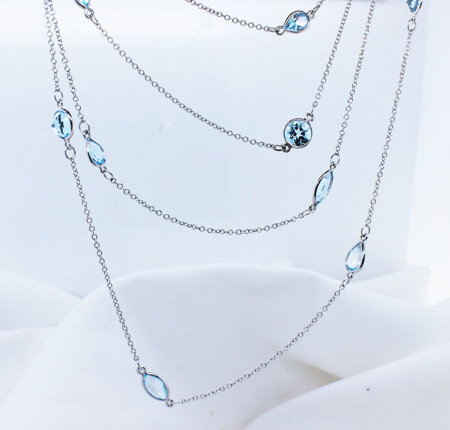 9K White Gold Blue Topaz Trace Chain Necklace