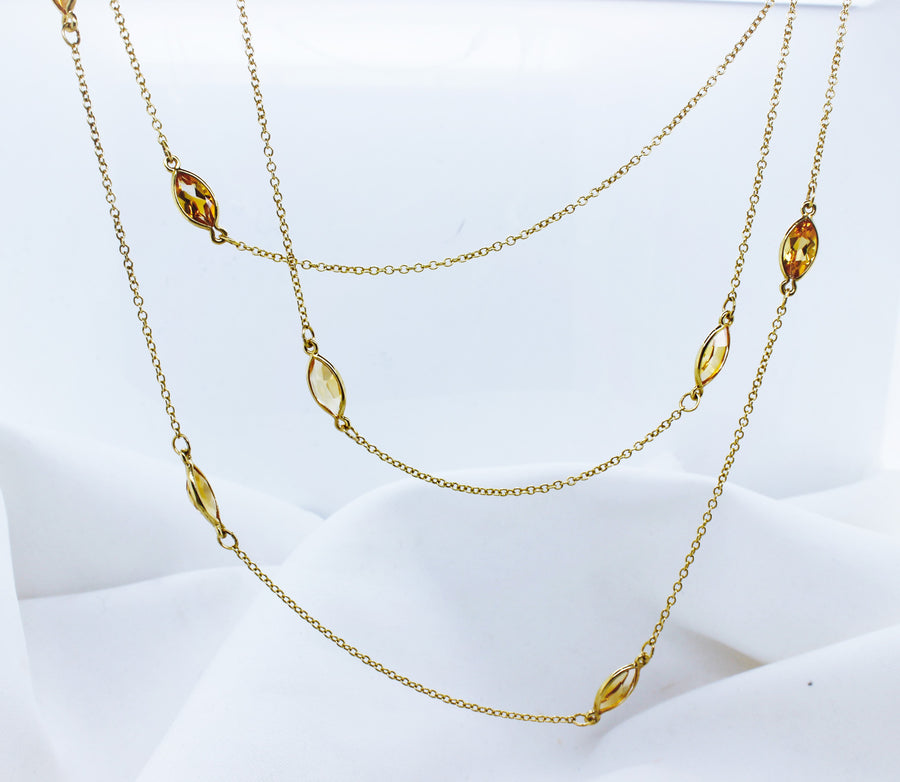 9K Yellow Gold Citrine Trace Chain Necklace