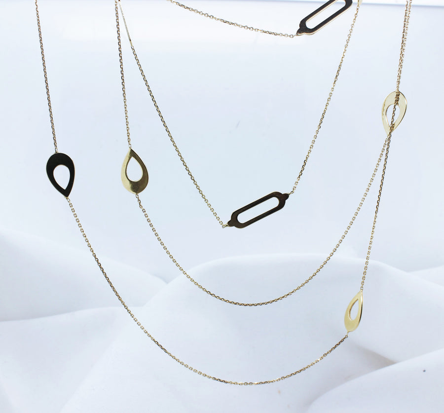 9K Yellow Gold Flat Shapes Trace Chain Necklace