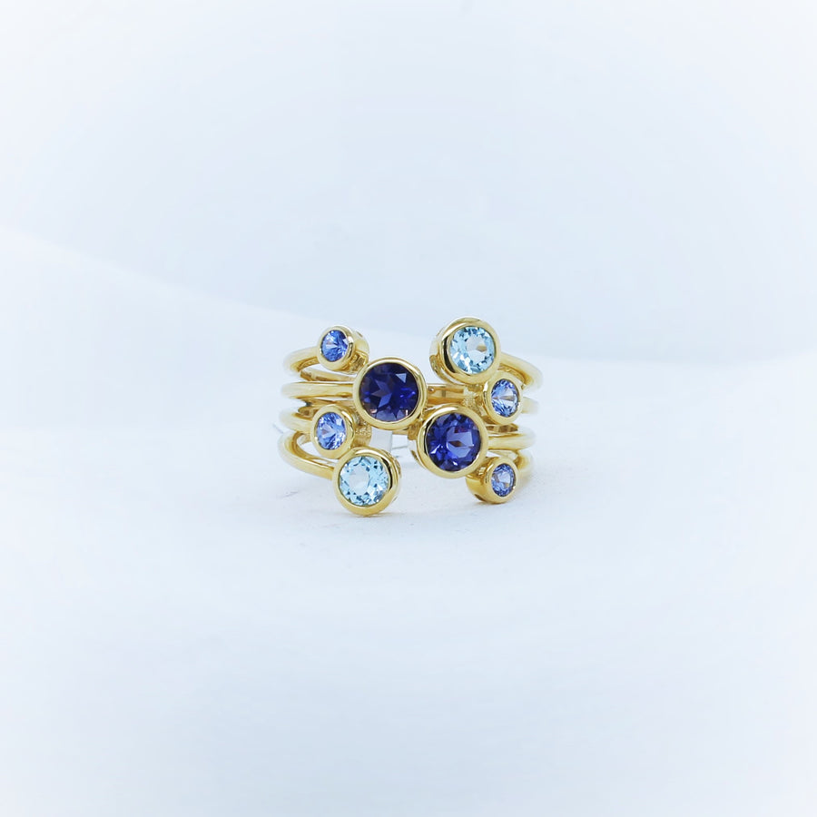 9ct Yellow Gold Lolite & Blue Topaz & Ceylon Sapphire Ring