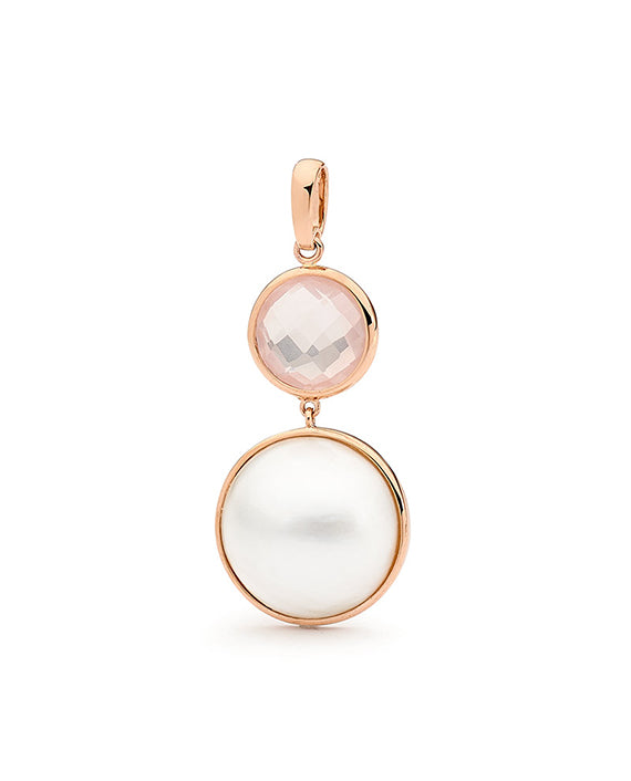 9ct Rose Gold Mabe Rose Quartz Pendant