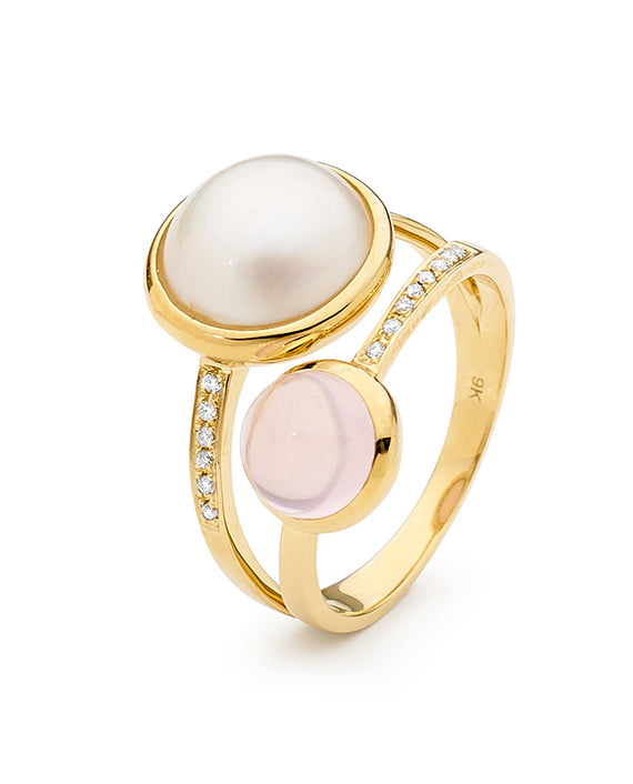 9K Yellow Gold Mabe Rose Quartz Diamond Ring - The French Door Jewellers