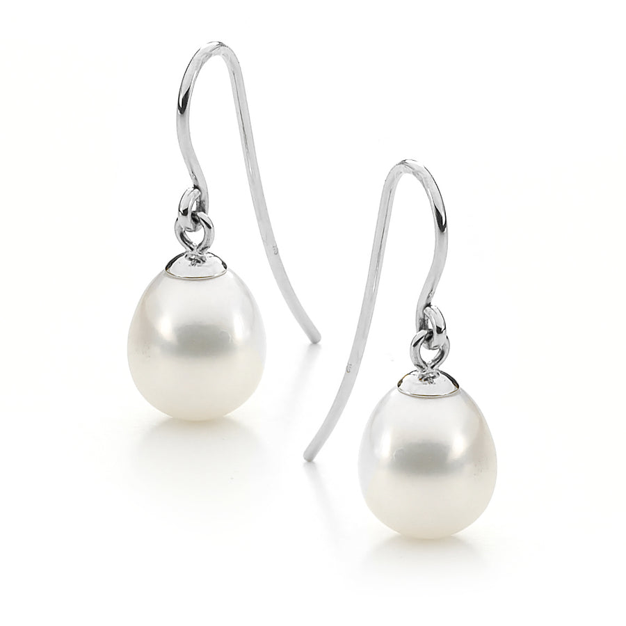 Sterling Silver Drop White Freshwater Pearl Shepherd Hooks - The French Door Jewellers
