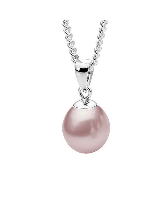 Sterling Silver Drop Pink Freshwater Pearl Pendant