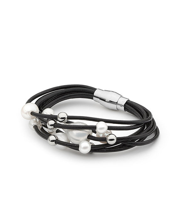 7 Row Freshwater Pearl Leather Bracelet (Black)