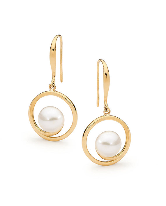 9ct Yellow Gold Freshwater Pearl Hook Earrings