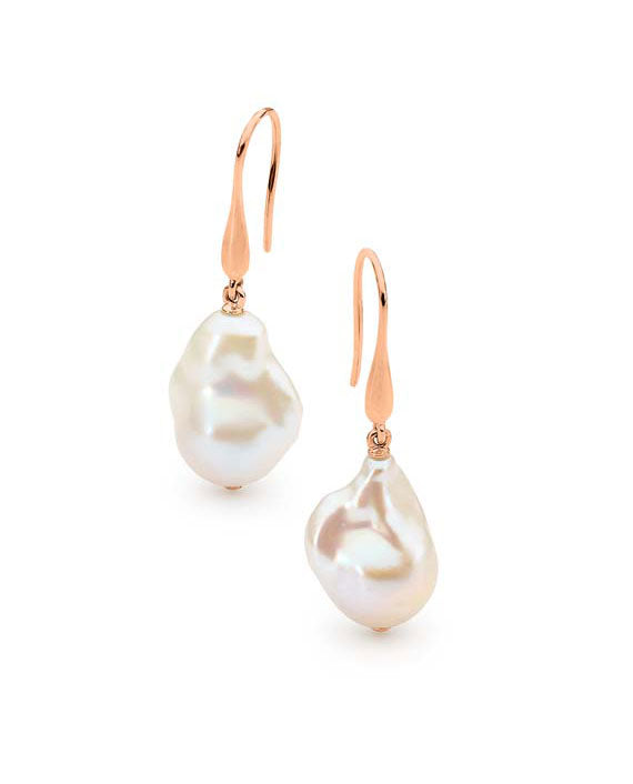 9ct Rose Gold Baroque Pearl Drop Earrings