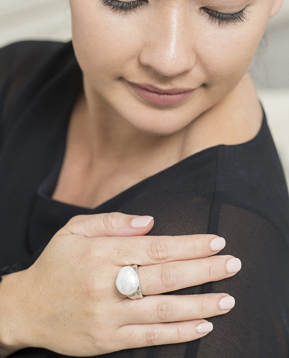 Sterling Silver Biwa Freshwater Pearl Ring