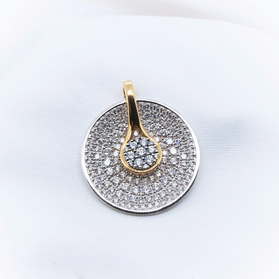 18K White & Yellow Gold Diamond Pendant - The French Door Jewellers