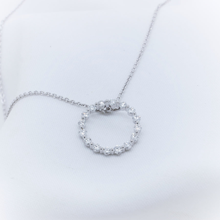 9K White Gold Circle Diamond Pendant - The French Door Jewellers