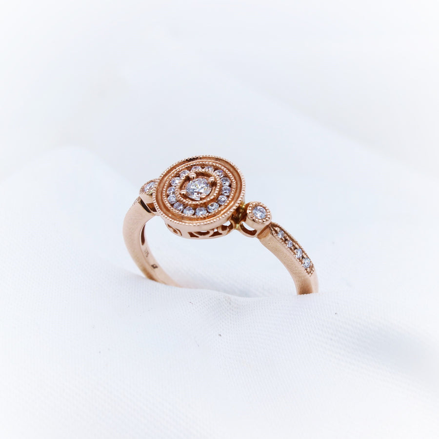 9K Rose Gold Diamond Antique style Ring - The French Door Jewellers