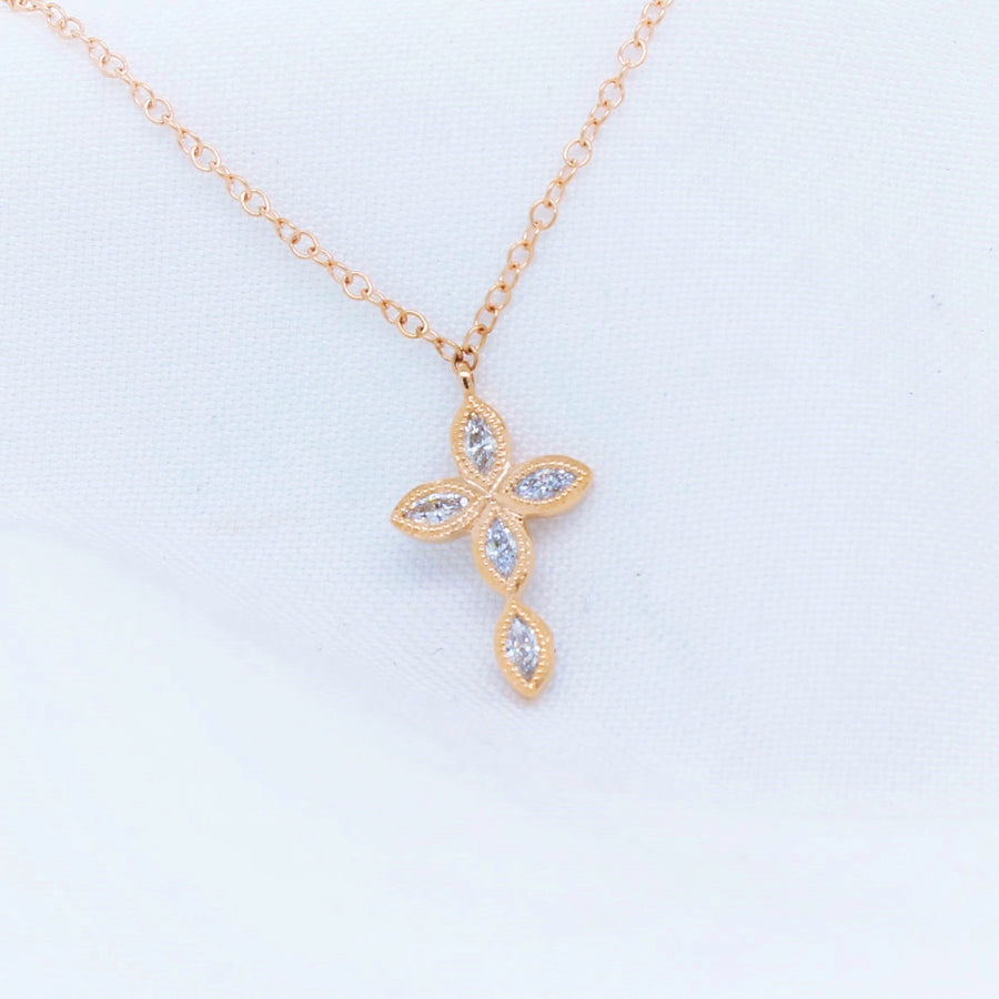18K Rose Gold Cross Diamond Necklace - The French Door Jewellers