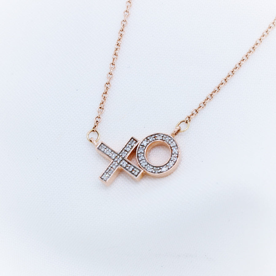 Rose Gold Diamond XO Necklace - The French Door Jewellers