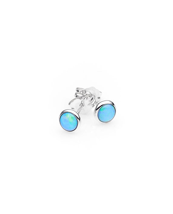 Sterling Silver Solid Opal Stud Earrings