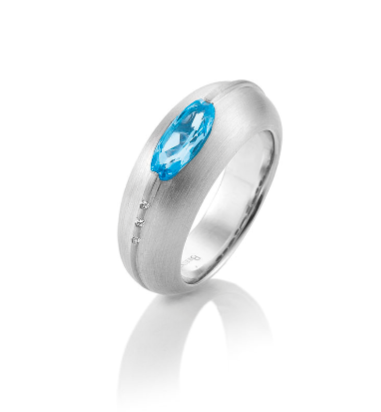 RING SS/RH WITH DARK BLUE TOPAZ - The French Door Jewellers