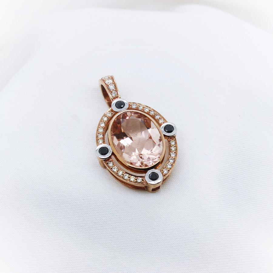 9K Rose Gold Morganite And Diamond Enhancer - The French Door Jewellers
