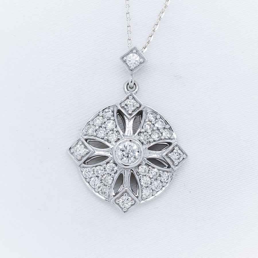 9K White Gold Diamond Pendant - The French Door Jewellers