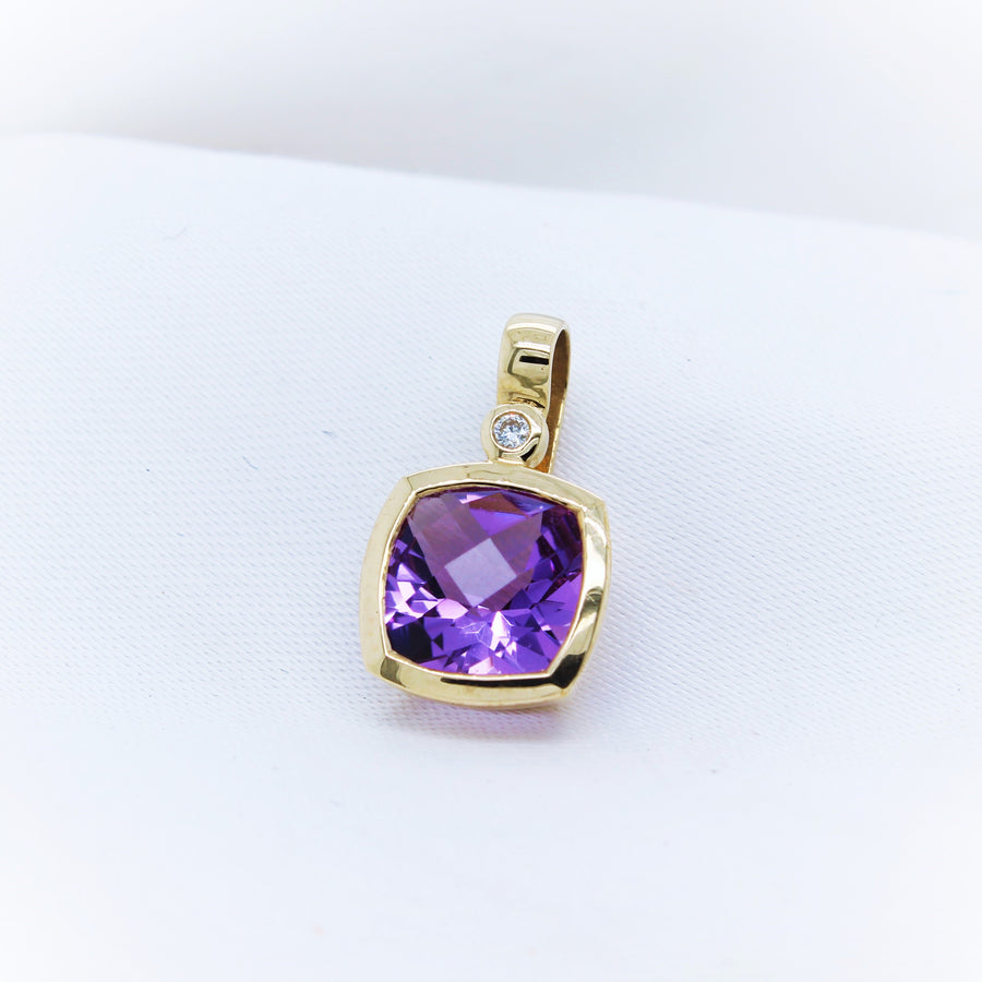 9K Yellow Gold Amethyst and Diamond Pendant - The French Door Jewellers