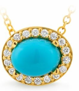 9K Yellow Gold Turquoise & Diamond Pendant - The French Door Jewellers