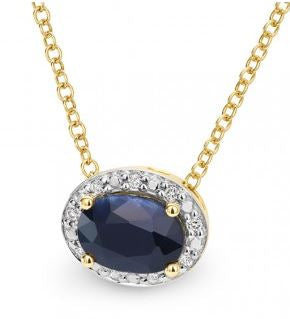 9K Yellow Gold Sapphire and Diamond Pendant - The French Door Jewellers