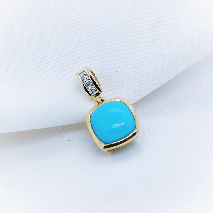 9K Yellow Gold Turquoise Diamond Pendant - The French Door Jewellers