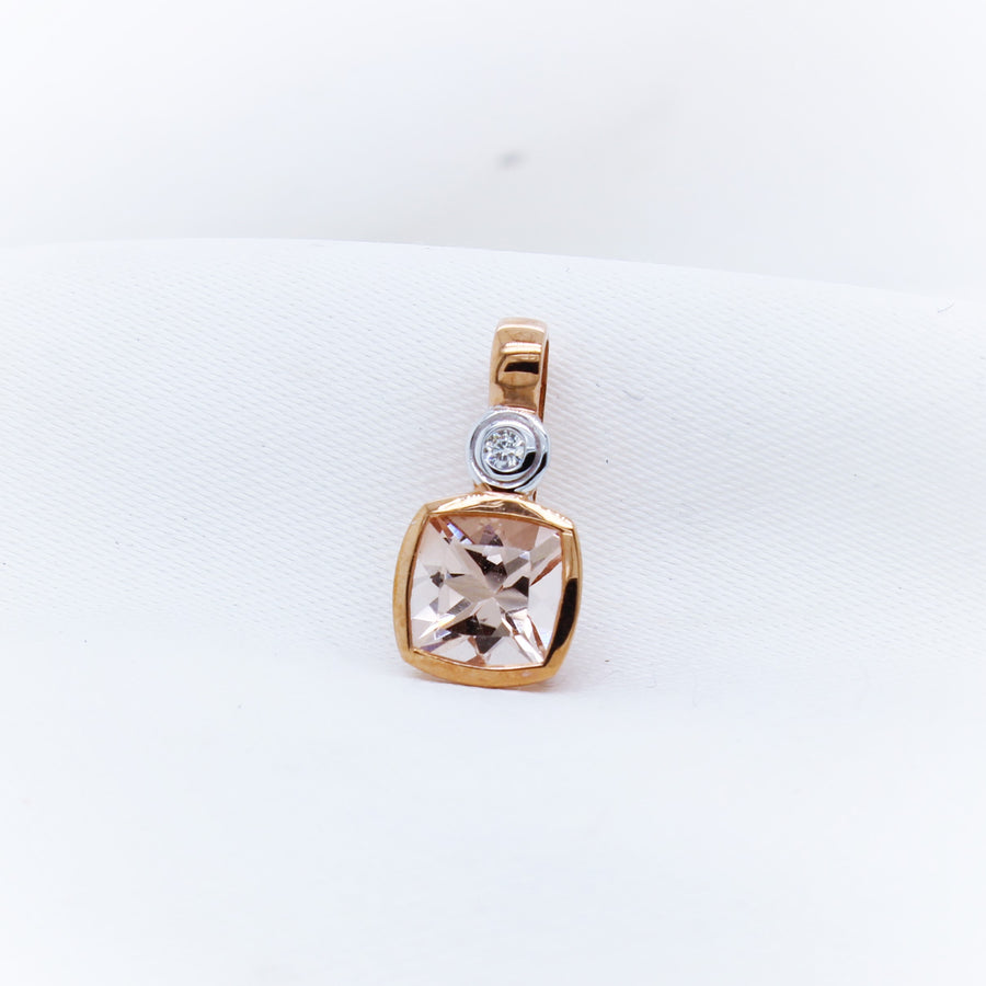 9K Rose Gold Morganite and Diamond Pendant - The French Door Jewellers