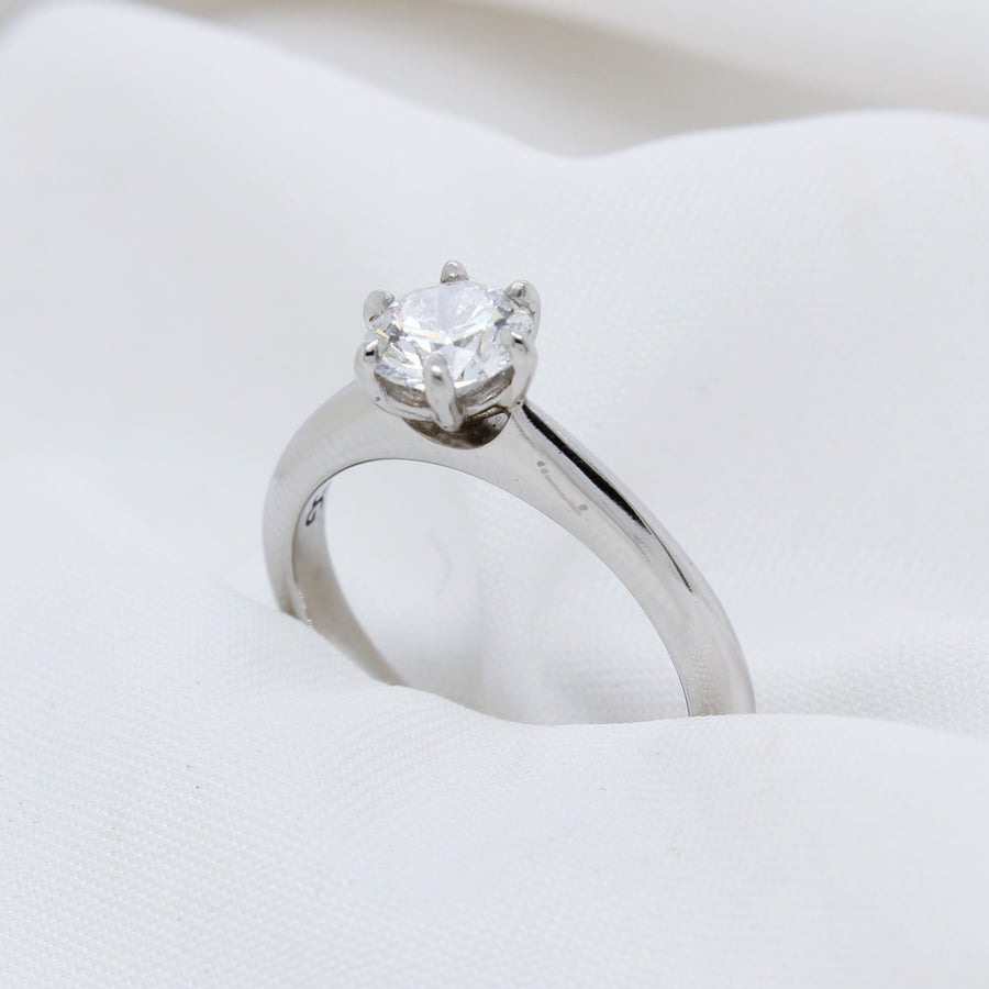EGS - Platinum Diamond Solitare Ring - The French Door Jewellers