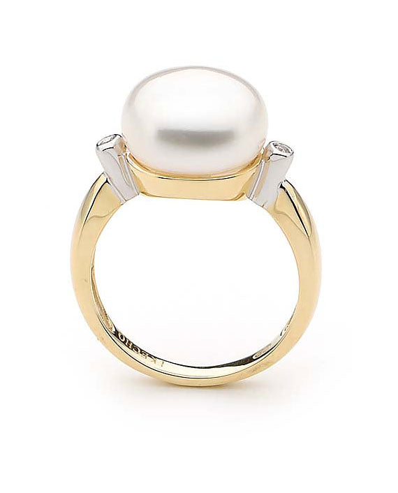 9ct Yellow Gold Freshwater Pearl Diamond Ring