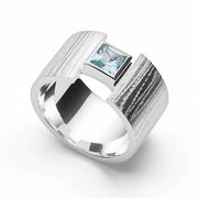 Bastian - Sterling Silver Textured Ring with Aquamarine - The French Door Jewellers