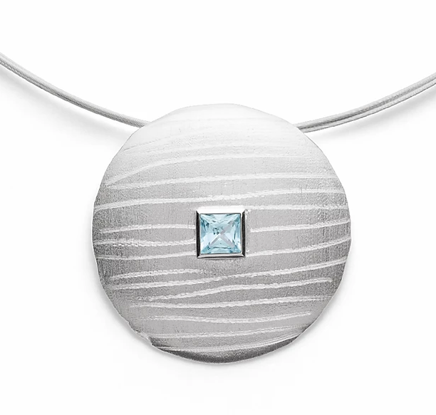 Bastian - Sterling Silver Pendant with Aquamarine - The French Door Jewellers