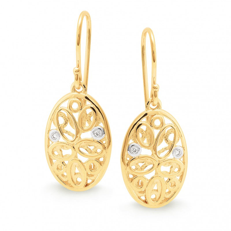 9K Yellow Gold Diamond Earring - The French Door Jewellers