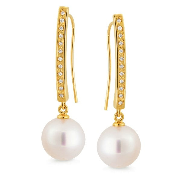 9k Yellow Gold South Sea Pearl & Diamond Earring - The French Door Jewellers