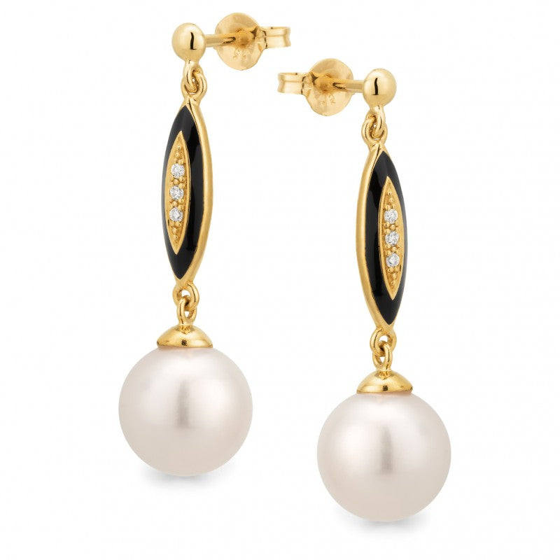 9K Yellow Gold Freshwater Pearl & Diamond Earrings - The French Door Jewellers