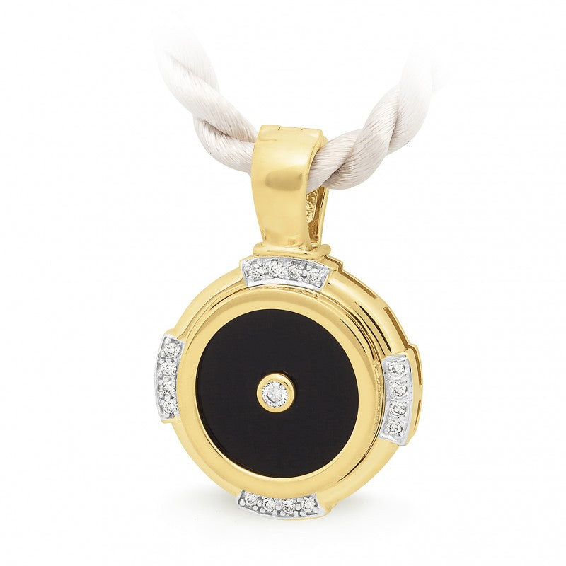 9K Yellow Gold Onyx & Diamond  Enhancer - The French Door Jewellers