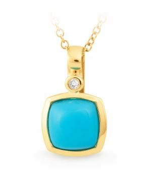 9K Yellow Gold Turquoise and Diamond Pendant - The French Door Jewellers