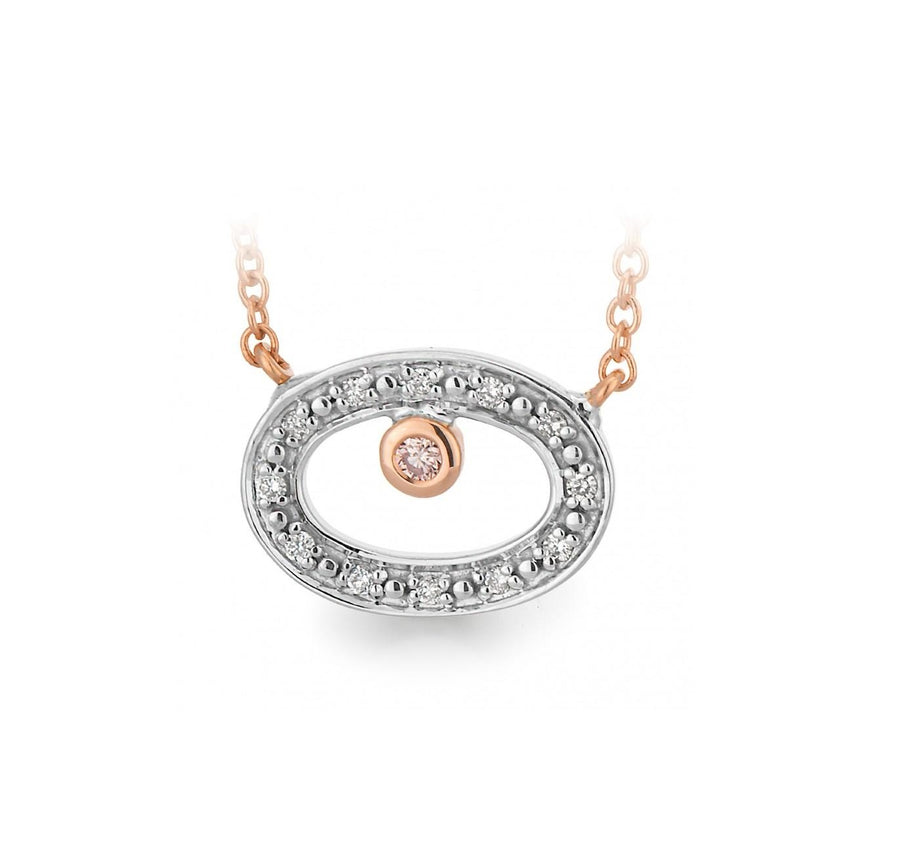 9K Gold Diamond Argyle Pink Caviar Dress Pendant - The French Door Jewellers