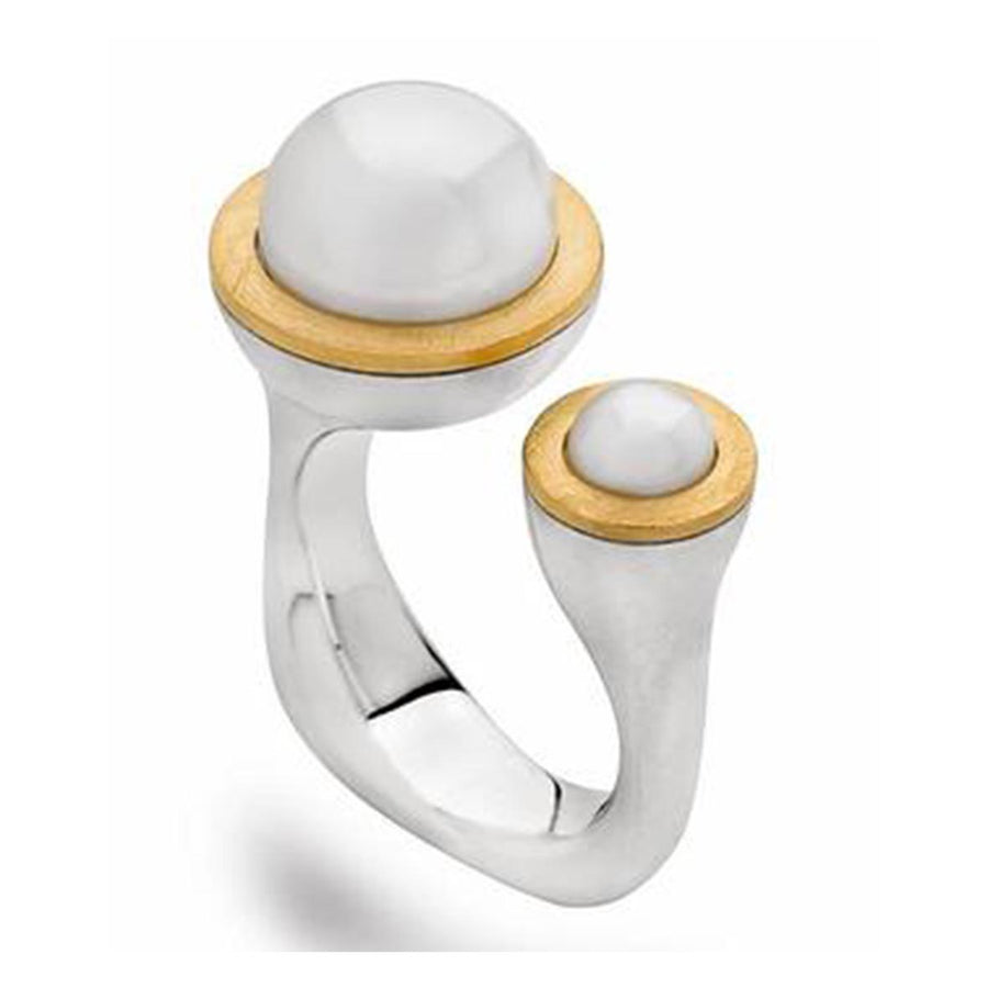 RING SS/YG PLATING WITH CC PEARL - The French Door Jewellers