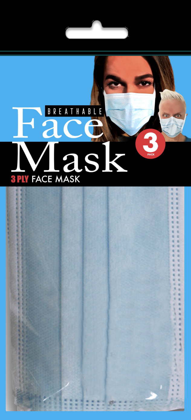 Face Masks: Set of 3 Disposable