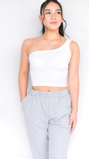 SEAMLESS RIBBED ONE SHOULDER CROP TOP