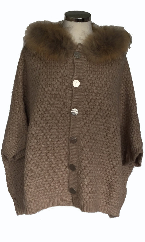 Fur Trimmed Cardigan with Detachable collar