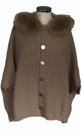 Fur Trimmed Cardigan with Detachable Fur Collar