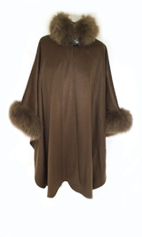 Wool Cape With Fur Trim