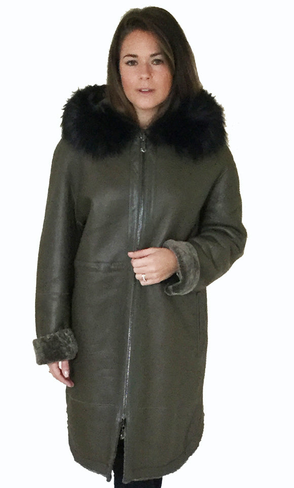 Reversible leather and sheepskin coat with hood