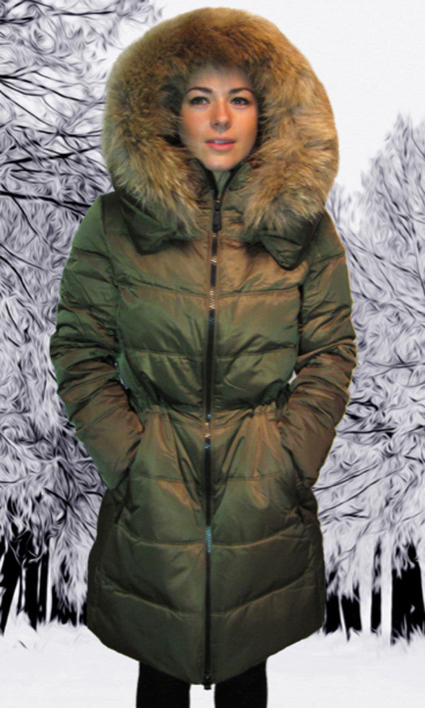 Down Filled Parka Coat With Fur Trim by COZI and Marie-S