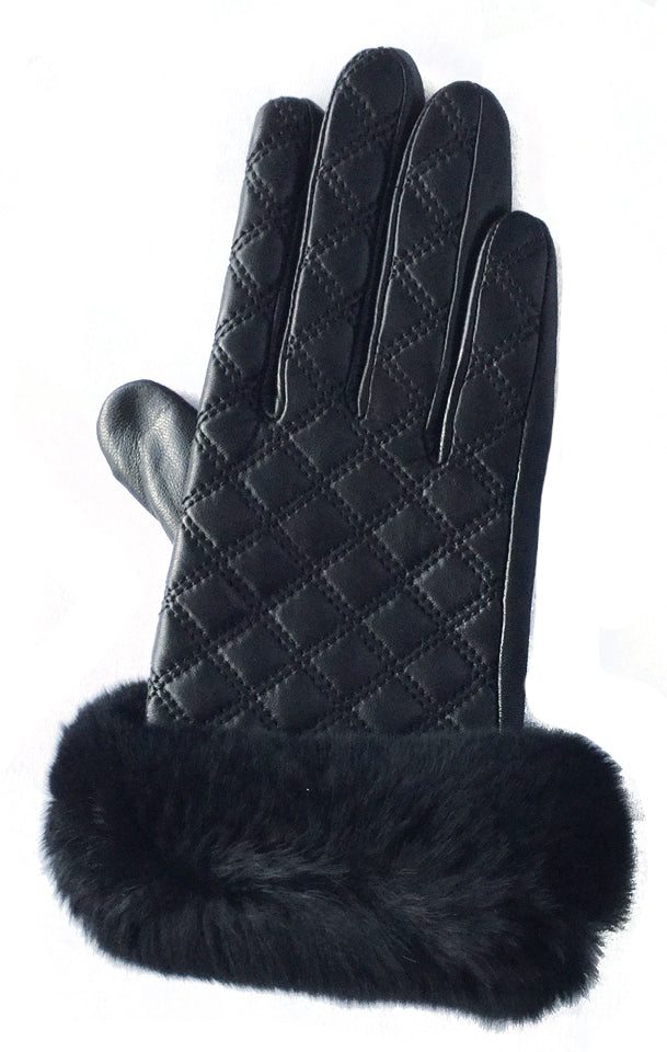Patterned Leather Gloves with Fur Trim