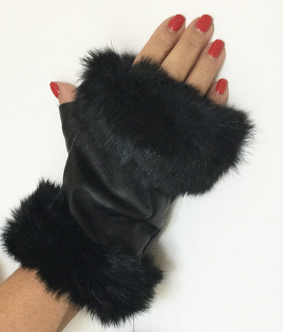 Fingerless, fur trimmed leather glove