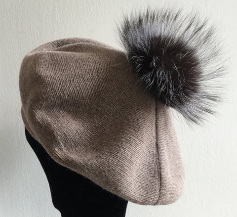 Beret with Detachable Fur Pom Pom