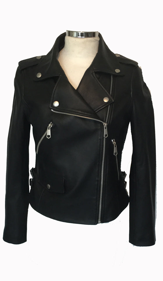Real Leather Biker Jacket by COZI