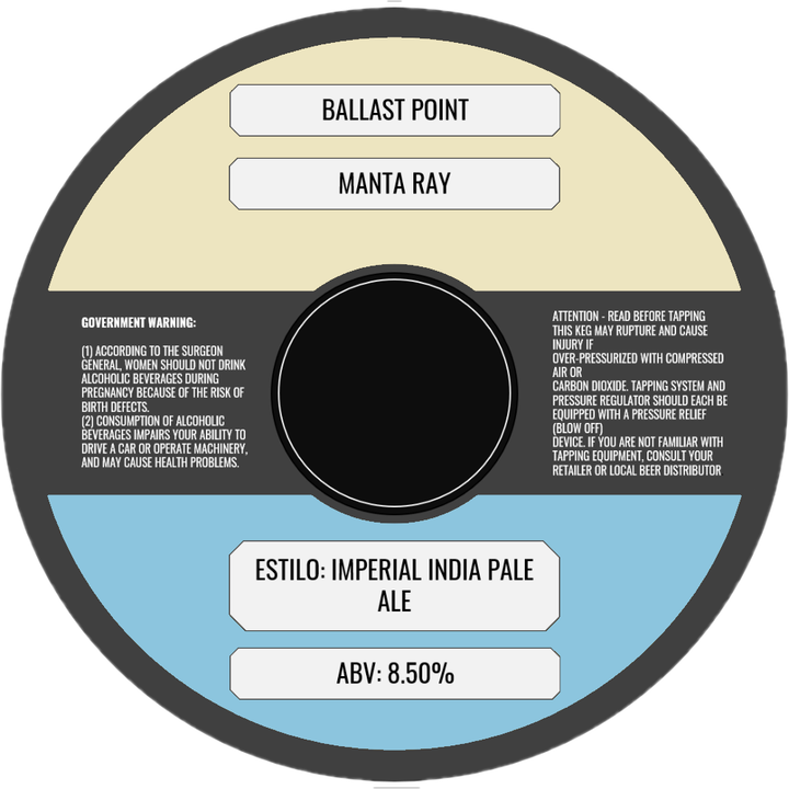 BALLAST POINT MANTA RAY IIPA (BARRIL) - CebadaMalteada